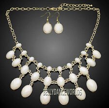 GOLDEN CHAIN OVAL BEADS VINTAGE DANGLE STYLE BIB STATEMENT NECKLACE EARRINGS SET