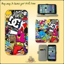 Sticker Bomb Leather Flip Wallet Ultra Slim Card Case for Iphone Touch  Samsung