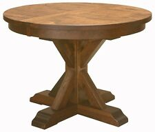 """Amish Rustic Plank Top Dining Table Round Pedestal Solid Wood Furniture 48"""" 54"""""""