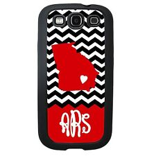 State Case for Samsung Galaxy S5 S4 S3 Note 2 Black Chevron Red Monogram
