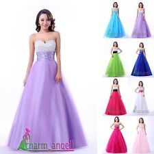 Sweetheart Long Organza Net Beaded Prom Dresses Formal Evening Dress Ball Gown