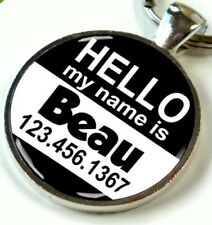 ID Custom Tags for Dogs and Cats 2 Sizes Available Hello My Name Is Black