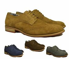 MENS REAL LEATHER SUEDE BROGUES LACE UP SMART WORK VINTAGE FORMAL& CASUAL SHOES