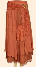 PRETTY ANGEL Burnt Orange Vintage Boho Peasant Gypsy skirt--flowing & layered...