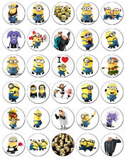 30 x Minions / Despicable Me Rice Paper Fairy Cup Cake Toppers