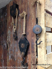 Block & Tackle Metal Rope Pulley Rust Antique Vintage Industrial Steampunk Decor