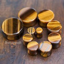 "Pair of Tigers Eye Organic Stone Plugs  - Double Flared - 2g to 1"" -10 sizes"