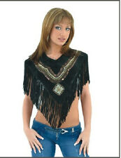 Womens Leather Poncho Vest with Beads and Fringes LV2