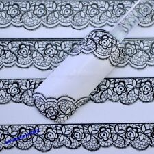 Popular 3D Black Lace Design Nail Art Stickers Decals For Nail Tip Decoration