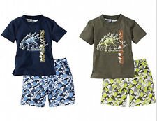 Summer Child Baby Boys Short Sleeve Dinosaur Tops T-shirt Pants Pajamas 2pcs set