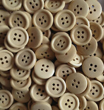 Natural Brown Wooden Buttons 15mm Craft Sewing Scrapbooking 4 Hole