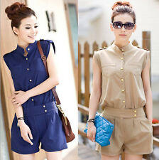 Summer Womens Button Down Sleeveless Jumpsuit Sexy Chiffon Rompers Short Pants