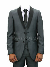 Mens Designer Grey Tuxedo Style Three Piece Suit Ideal For Weddings & Functions