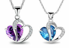 925 Sterling Silver Amethyst Crystal Heart Pendant Necklace Chain Blue Purple