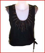 Bnwt Womens French Connection Silk Sequin Blouse Tank Top Black Fcuk RRP£65 New