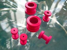 Pair Pink Titanium Screw On Hollow Tunnels Ear Plugs Earlets Gauges