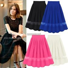 Women Girl Chiffon Pleated Retro Elastic Waist Short Mini Skirt Dress Fashion
