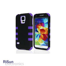 For Samsung Galaxy S5 screen protector/Heavy Duty Purple Hybrid Rugged Hard Case
