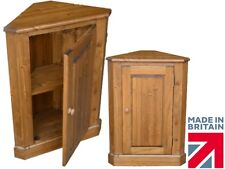 Solid Pine Cupboard, Traditional Handcrafted Panelled Corner Storage Cabinet