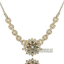 BLING RHINESTONE CRYSTAL GOLDEN CHAIN FLOWER PETAL PENDANT BIB ELEGANT NECKLACE