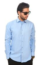New Mens Dress Shirt Light Blue Tailored Slim Fit Wrinkle Free Cotton AZAR MAN