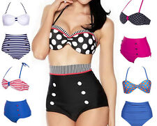 VS Cutest Retro Swimsuit Swimwear Vintage Pin Up Push Up High Waist Bikini Set