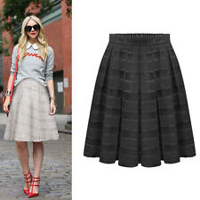 Women Double Layer Pleated Retro Maxi Dress Plaid Long Elastic Waist Skirt Black