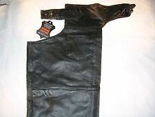 Mens Leather Motorcycle Biker Chaps S-3X,  Lined, 2 Harley Patches, Womens