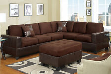 Poundex F7631_F7632 Chocolate Microfiber & Saddle Sectional Sofa