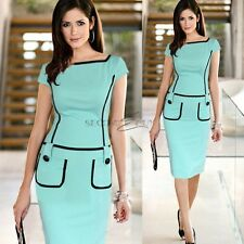Womens Vintage Stretch Bodycon Party Wear To Work Fitted Sheath Pencil Dress
