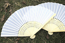 Nice Lady's White Silk Hand Fan Fit Outdoor Wedding Party Xmas Favor Gift iw282
