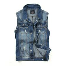 ZHM3024 New Mens Casual Denim Vest Jean Sleeveless Biker Trucker Jacket Outwear