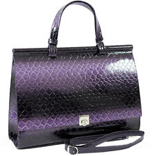 Women Shiny Crocodile Leather Briefcase Handbag Office Bag with Shoulder Strap