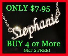 Personalized Name Necklace with Rhinestone Buy 4 get 2 FREE! Gold & Silver Tone