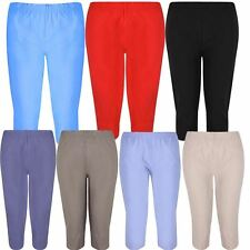 Ladies Plus Size Calf Length Cropped Capri  Stretch Waist¾ Pants Shorts 8-20
