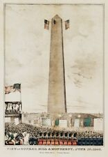 4016.View of Bunker Hill monument with three flags.POSTER.Home School art decor
