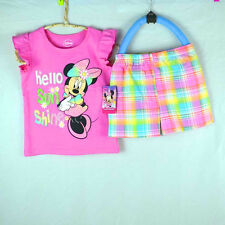 sale 2pcs Kids outfits mine Girl sets baby Clothes top+shorts For 1-3Y  S44-1