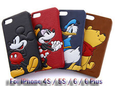 3D Disney Pop-Up PU Leather Skin Hard PC Back Case For iPhone 4S / 5S / 6 / Plus
