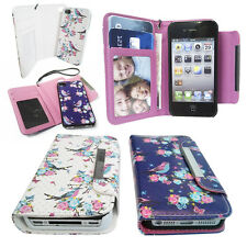FLORAL BIRD Leather Wallet case with Magnetic Detachable Hard Cover