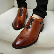 Retro Hot Men's Punk Style PU Leather Wing Tip Lined Dress Formal Oxford Shoes