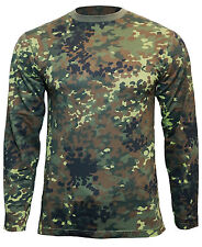Long Sleeve FLECKTARN CAMOUFLAGE T-SHIRT - All Sizes - Army Military Cotton Top