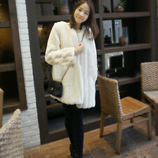 Womens Fashion Luxury Long Section Faux Fur Plush Coat Jacket Casual Outerwear