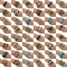 NEW Rows DIY Jewelry fashion lots Style Leather Cute Infinity Charm Bracelet Hot