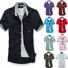 New Korean Men's Fashion Short Sleeve Fitted Tops Handsome Casual T-shirt 5 Size