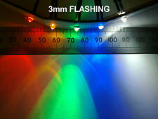 Qty 10 : 3mm 12V Wired Flashing LED in Various Colours (includes resistor)  ff