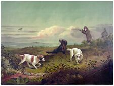 4479.Three hunting dogs in prairie with hunters.POSTER.decor Home Office art