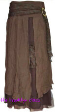 PRETTY ANGEL Brown Vintage Boho Peasant Gypsy skirt--flowing, elegant & layered