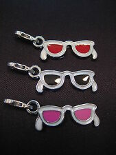 PICK YOUR SUNGLASSES CHARM ~ Clip On Silver Black Red Pink Enamel Charm