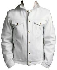 Men's White Leather Jacket Soft Thick Cowhide Jeans Style Brand New LLL-194