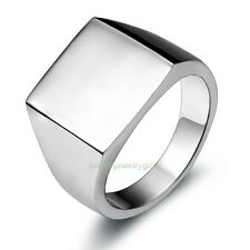 Silver-tone Simple Polished Stainless Steel Ring Boy's Mens Biker Signet Band